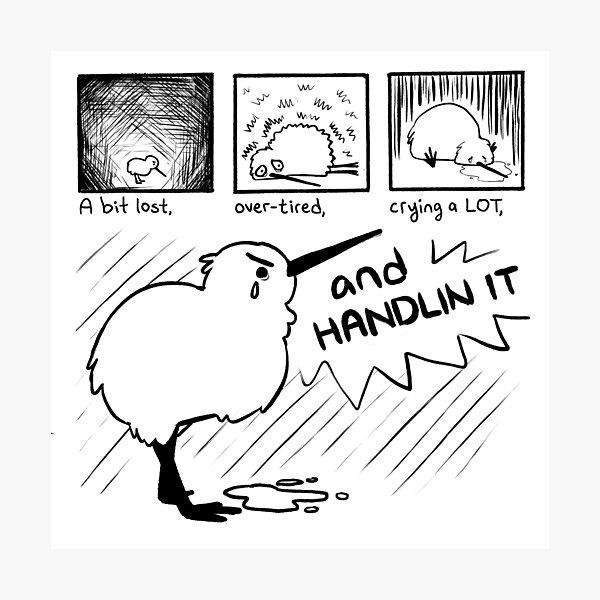 """HANDLIN IT"" Kiwi Bird Comic Photographic Print"