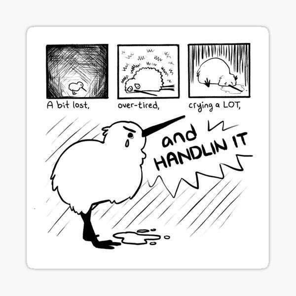 """HANDLIN IT"" Kiwi Bird Comic Sticker"