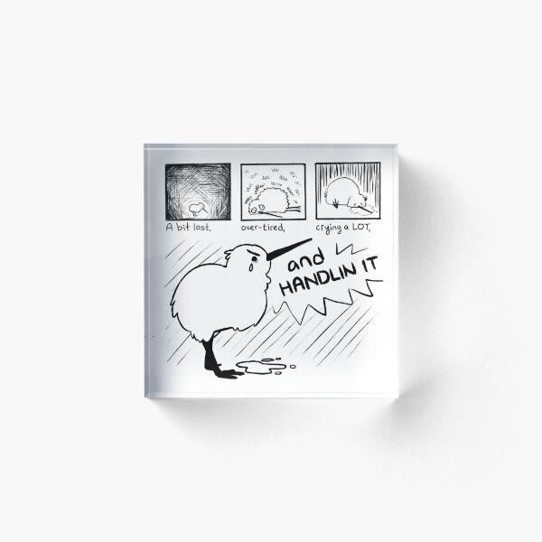 """HANDLIN IT"" Kiwi Bird Comic Acrylic Block"