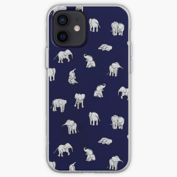 Indian Baby Elephants in Navy Blue iPhone Soft Case