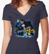 Mario Kombat Women's Fitted V-Neck T-Shirt