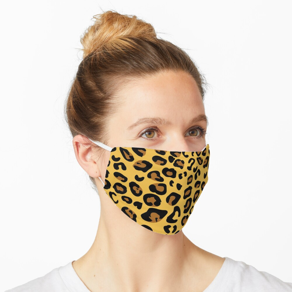 Leopard pattern face covering White leopard Mask
