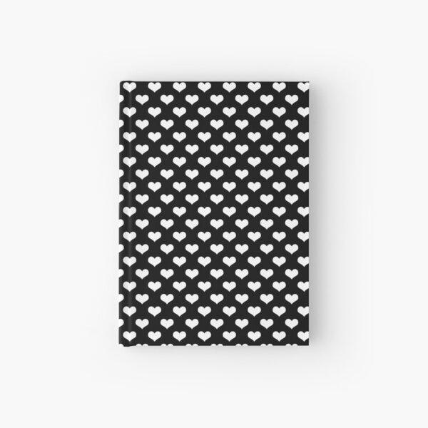 White Hearts Pattern Black Background Hardcover Journal