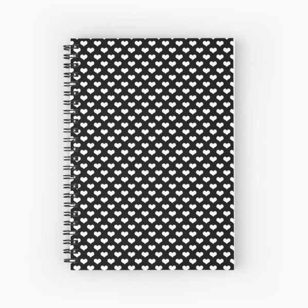 White Hearts Pattern Black Background Spiral Notebook