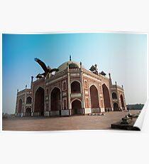 Hawk flying next to Humayun Tomb Delhi Poster