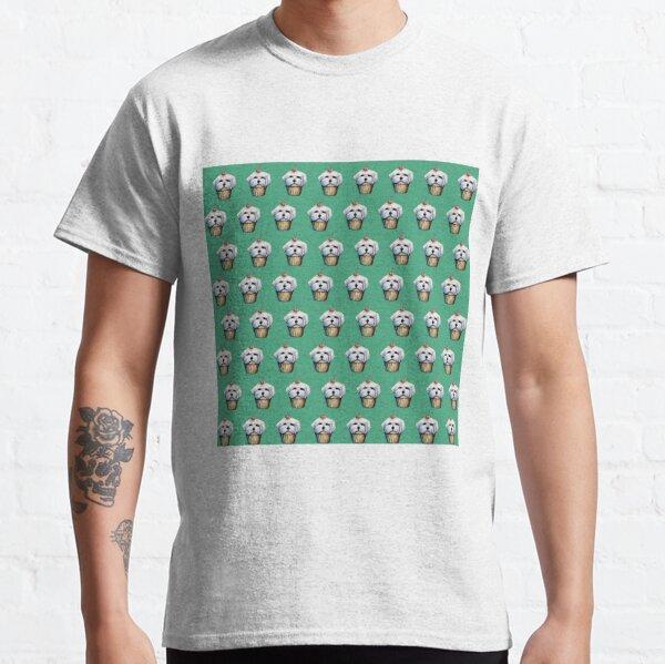 """Cherry on Pup"" Maltese Cake Pattern Green Classic T-Shirt"