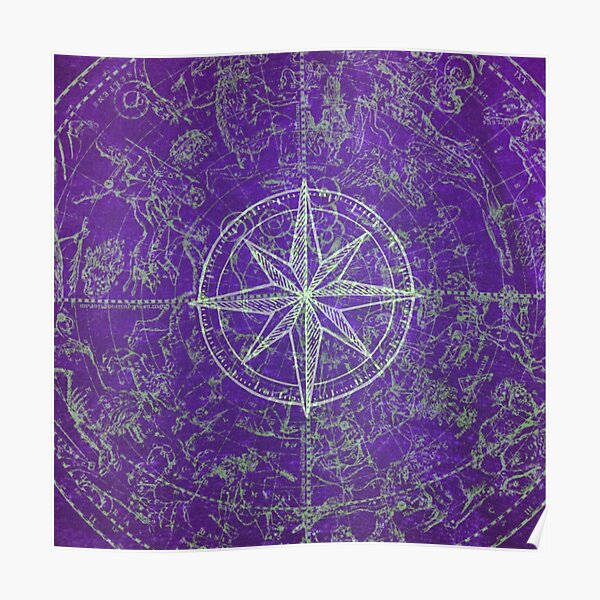 Map of the Heavens in Purple Poster
