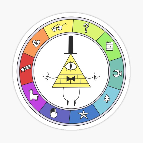 Rainbow Bill Cipher Wheel Sticker
