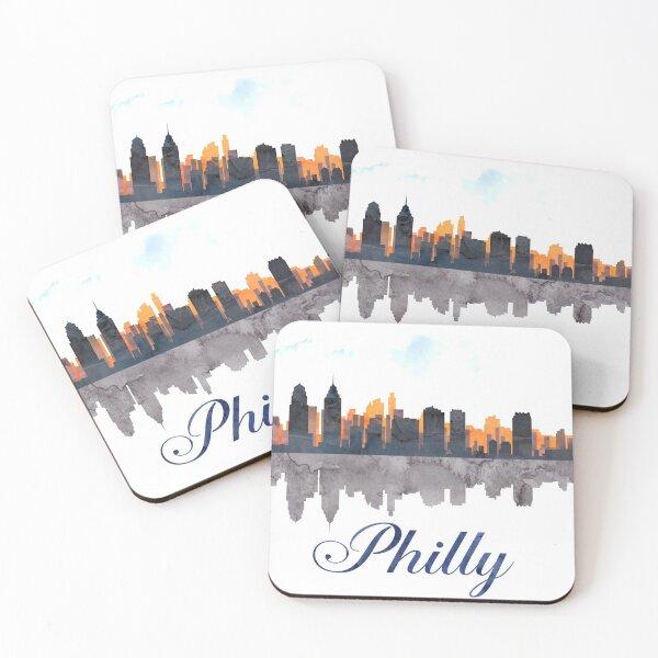 Philadelphia Skyline, Pennsylvania, Watercolor Coasters (Set of 4)