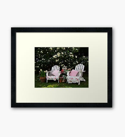 Afternoon Tea Under The Magnolia Tree Framed Print