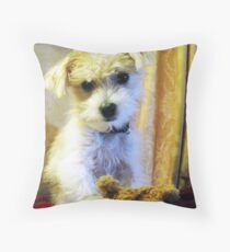 My Favorite Toy - Tigger dog portrait Throw Pillow