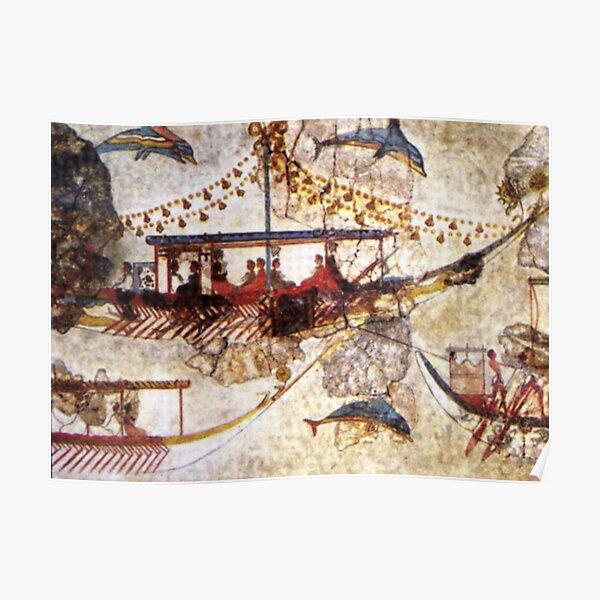 Minoan Admirals Flotilla Fresco Ship Closeup Poster