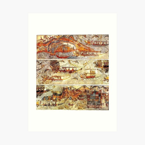 Minoan Admirals Flotilla Fresco in Three Panels Art Print