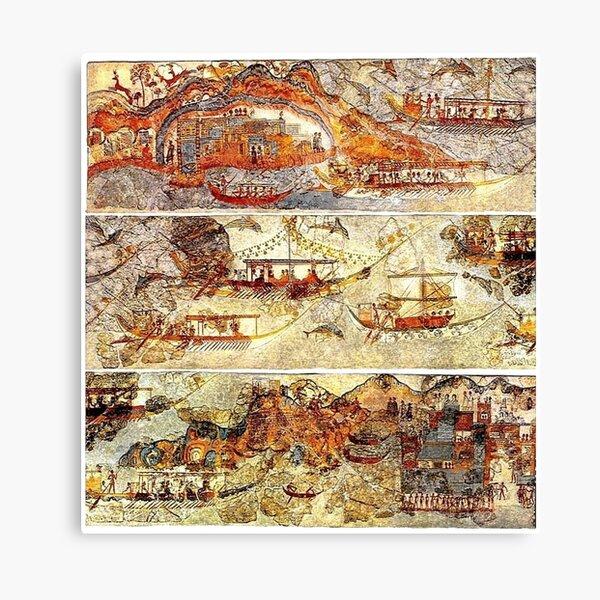 Minoan Admirals Flotilla Fresco in Three Panels Canvas Print