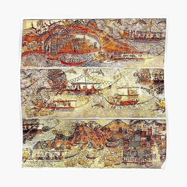 Minoan Admirals Flotilla Fresco in Three Panels Poster