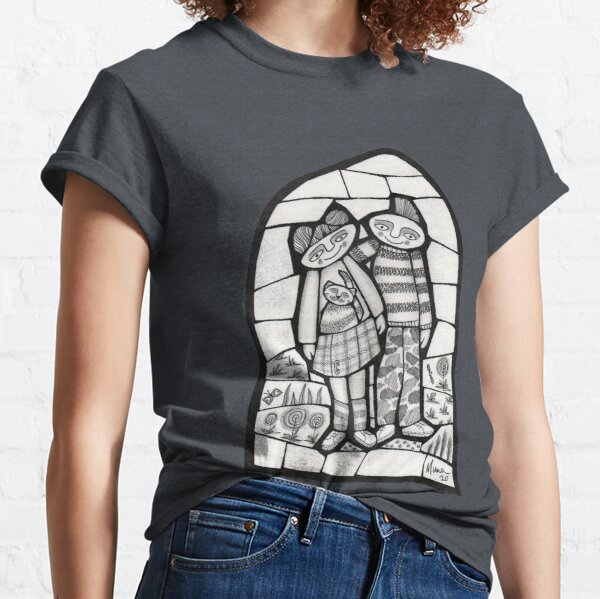 Punks in the Wild black and white mosaic illustration Classic T-Shirt