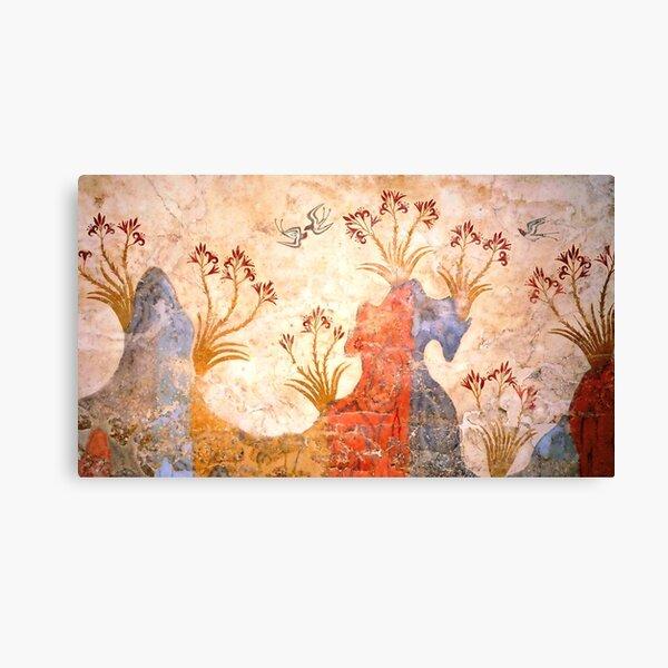 Minoan Spring Fresco West Wall Swallows Escena Lienzo