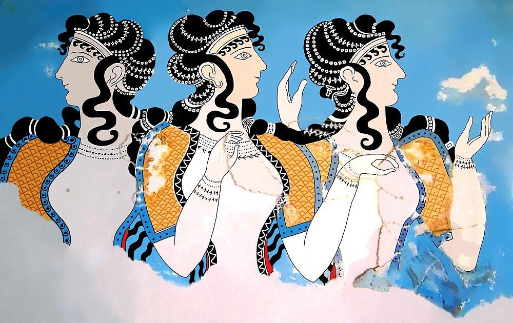 """Minoan """"Ladies in Blue"""" Fresco Art by W. Sheppard Baird"""