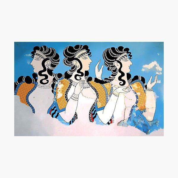 "Minoan ""Ladies in Blue"" Fresco Art Photographic Print"