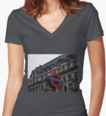 Oxford Street Station Women's Fitted V-Neck T-Shirt