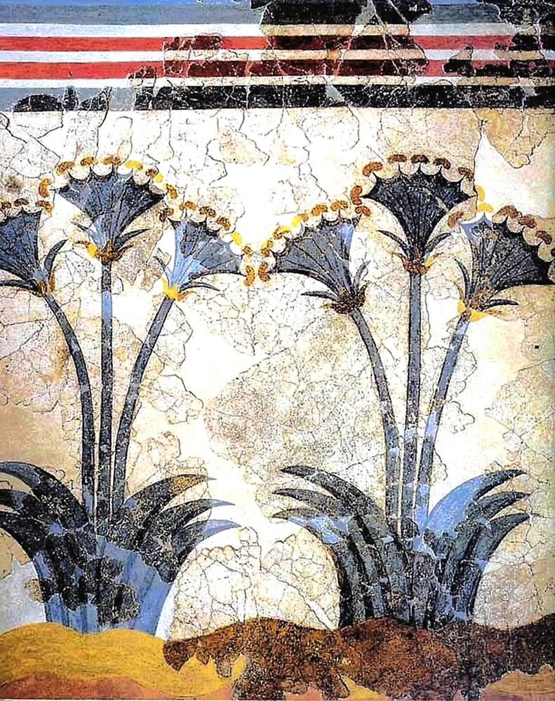 "Minoan Sea Daffodils ""Lilies"" Fresco by W. Sheppard Baird"