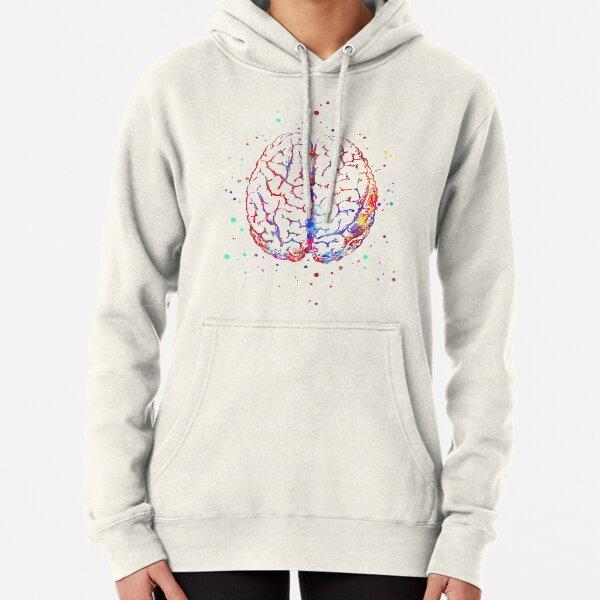 Brain anatomy, medical art, brain top, brain front, watercolor Brain Pullover Hoodie