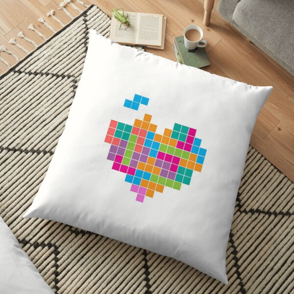Tetris Heart Shape - Shirts, bags, phone cases Floor Pillow
