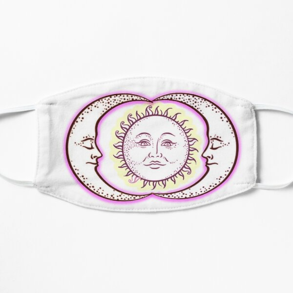 Vintage Solar Eclipse Sun and Moon T-shirt Flat Mask