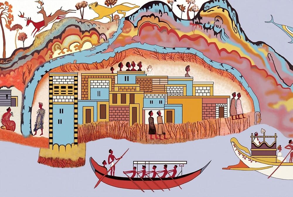 Minoan Admirals Flotilla Fresco Thera Scene Restoration by W. Sheppard Baird