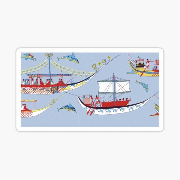 Minoan Admirals Flotilla Fresco Shipping Scene Restoration Sticker