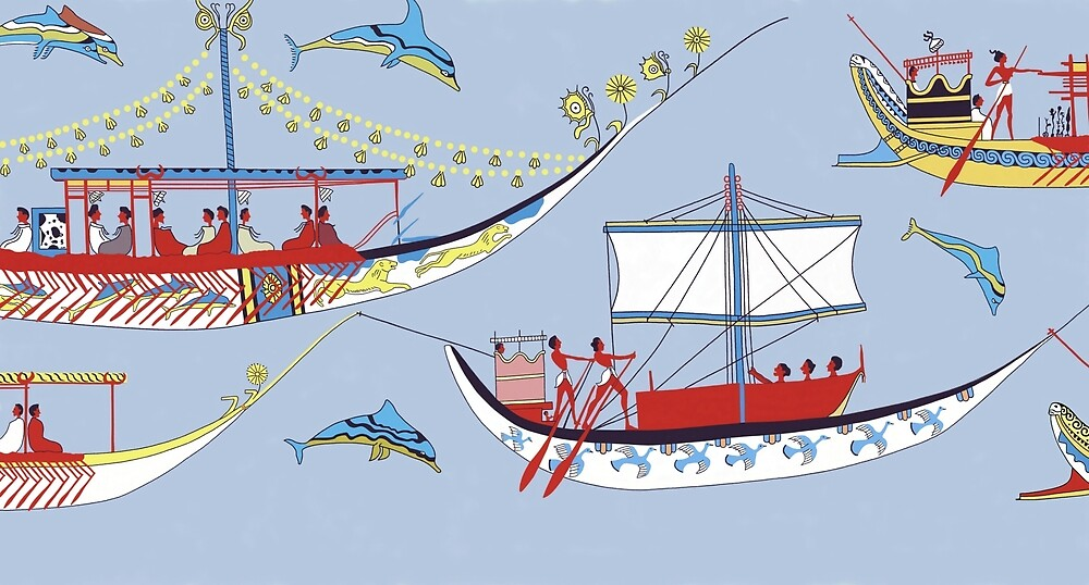 Minoan Admirals Flotilla Fresco Shipping Scene Restoration by W. Sheppard Baird