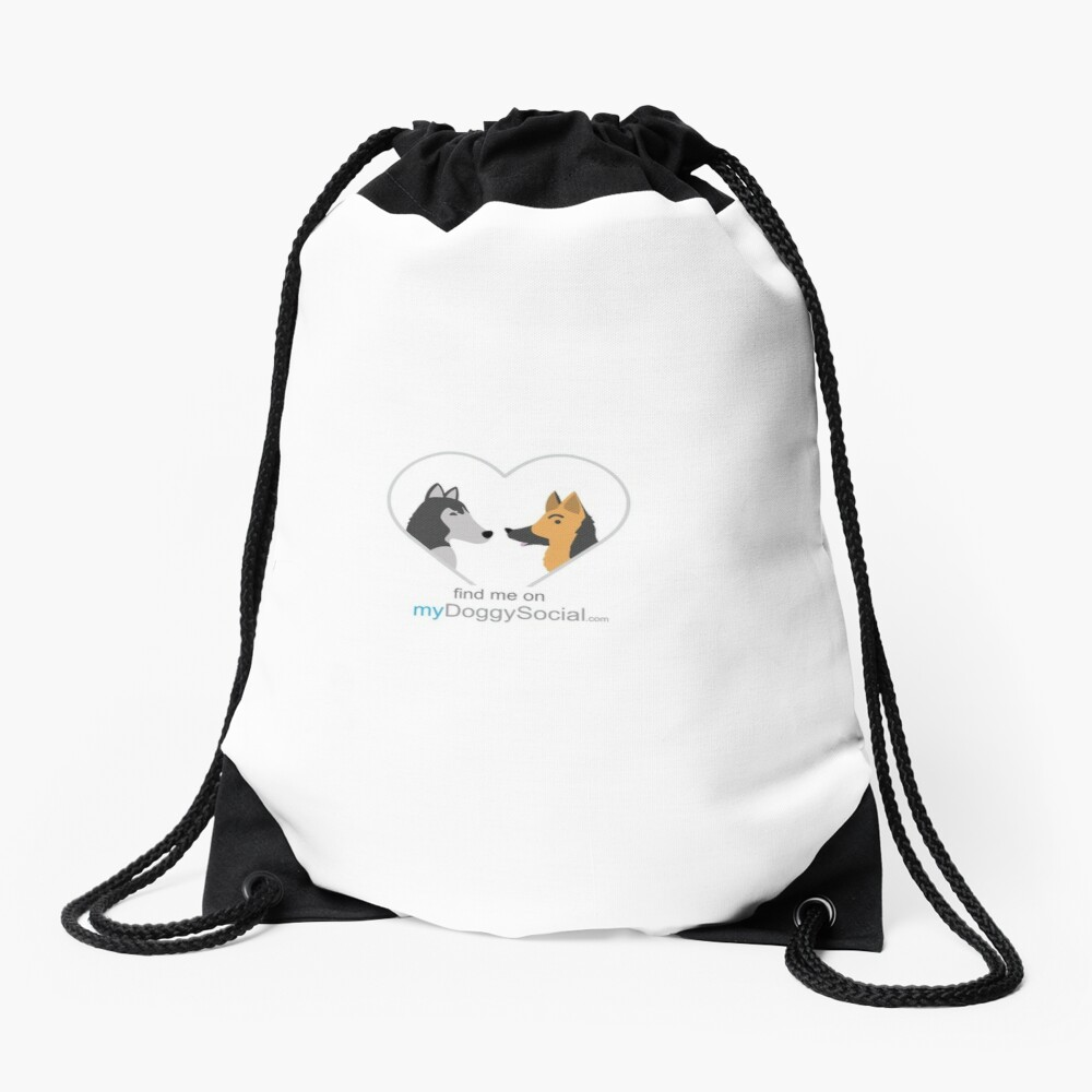 myDoggySocial dog lovers find me on mydoggysocial mobile app Drawstring Bag