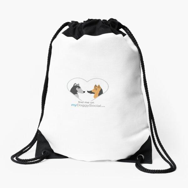 myDoggySocial dog lovers find me on mydoggysocial mobile app Drawstring Bag