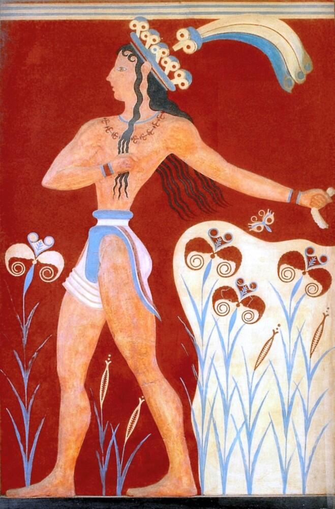 """Minoan Prince of Lilies """"Priest King"""" Fresco by W. Sheppard Baird"""