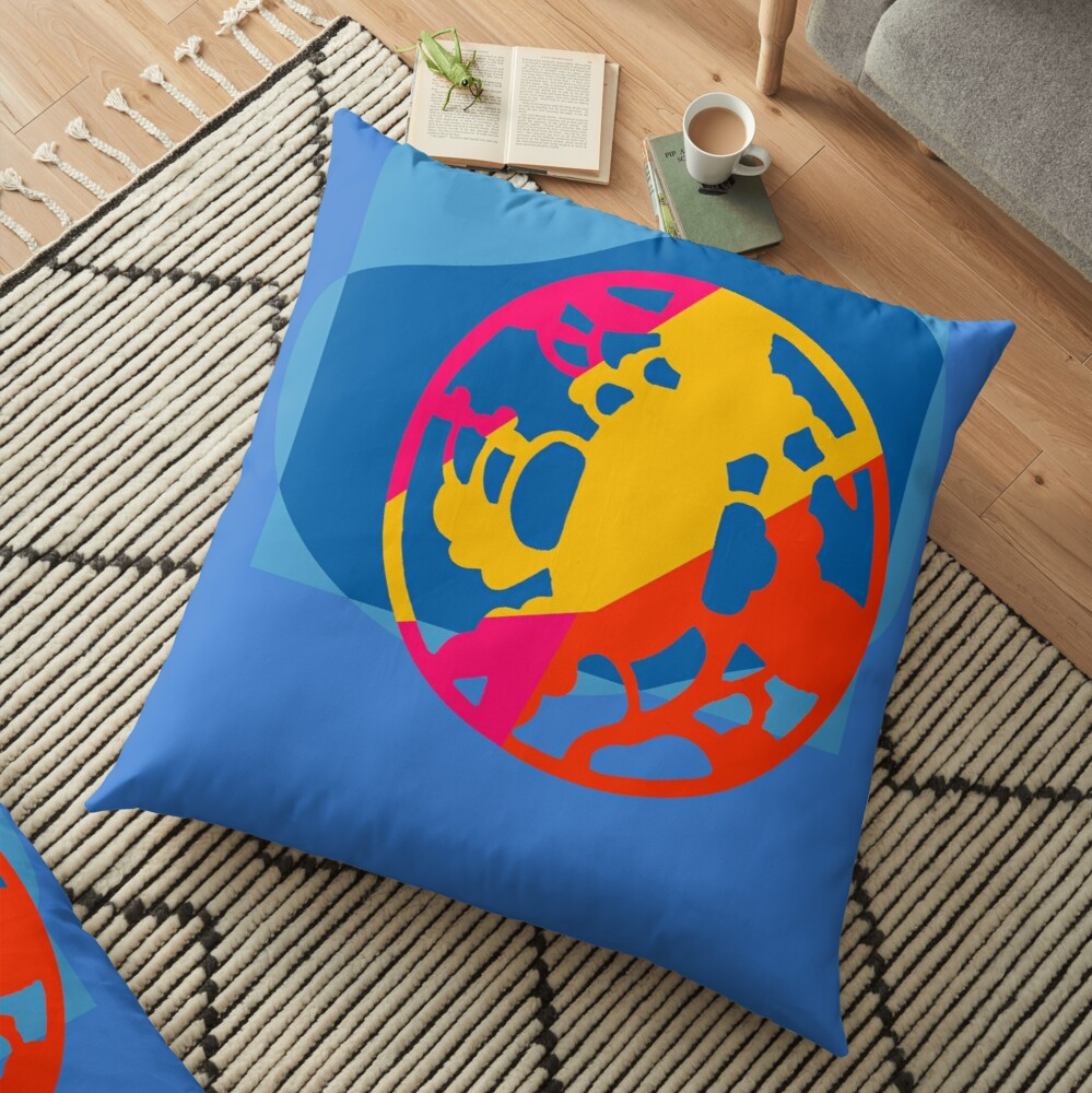 Colorful Abstract Geometric Art Floor Pillow
