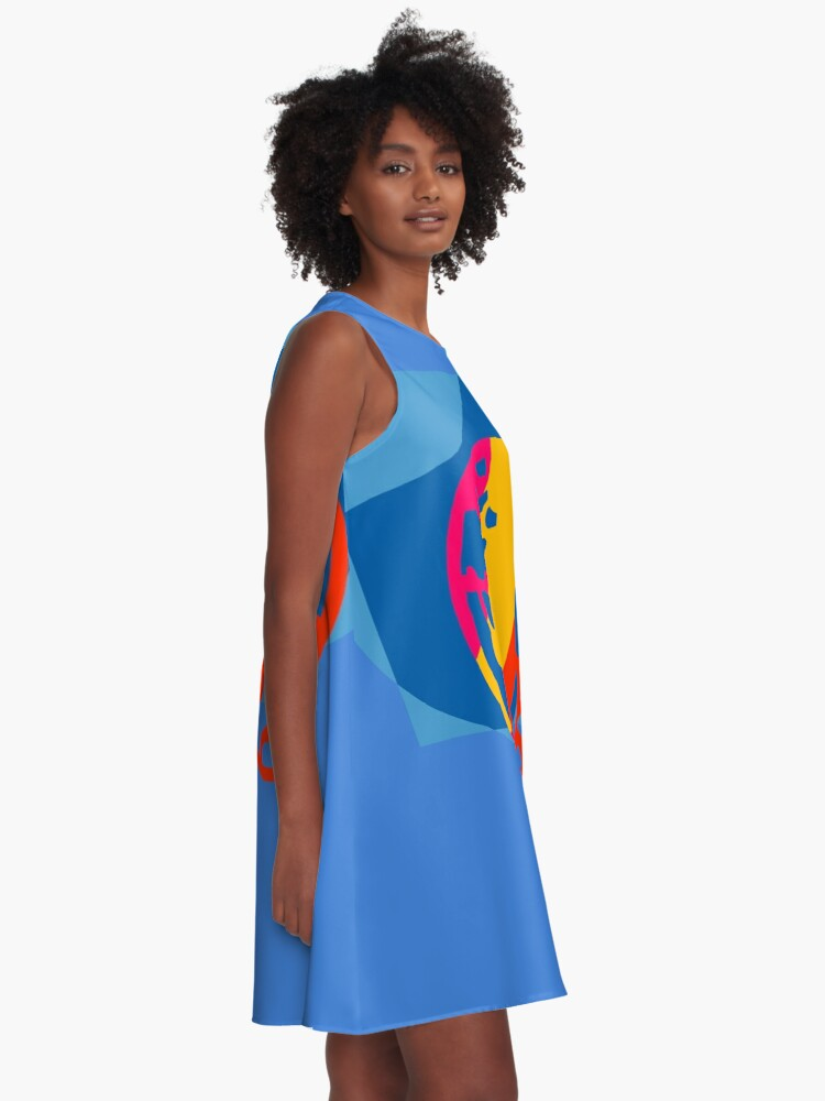 Alternate view of  Colorful Abstract Geometric Art A-Line Dress