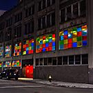 Detroit Synagogue at Night by Tina Logan