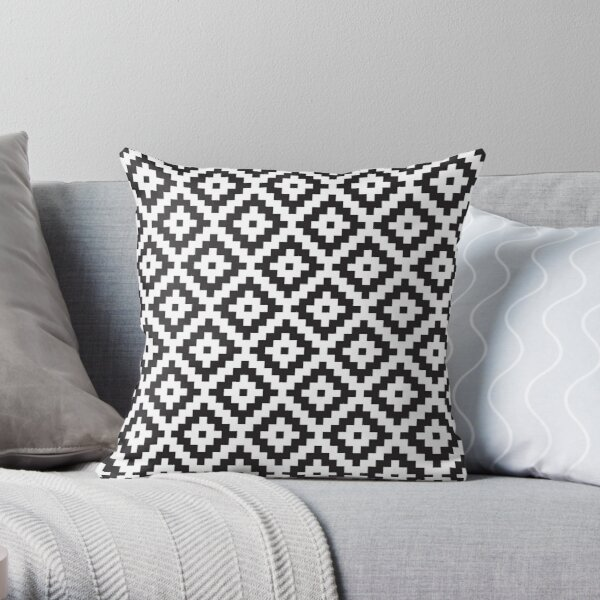Abstract Geometric Monochrome Pattern Throw Pillow By Elfina Redbubble