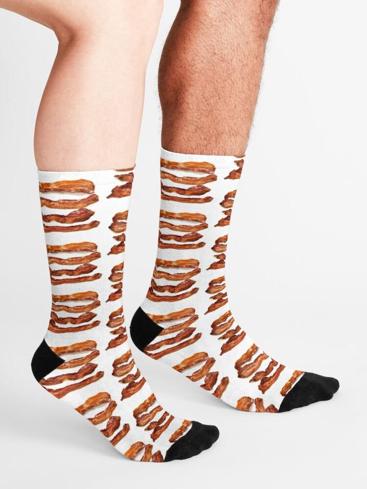 Alternate view of Bacon, Bacon socks, Bacon greeting card, Bacon mug, Bacon pillow, Bacon mask  Socks