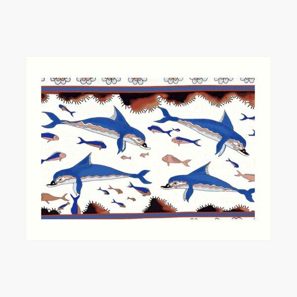 Minoan Dolphins Fresco Restoration Art Print