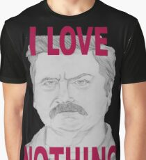 Ron Swanson Pencil Portrait Graphic T-Shirt