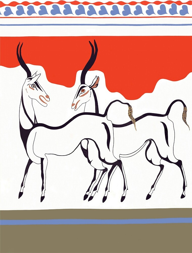 Minoan Antelope Fresco Restoration by W. Sheppard Baird