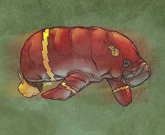 Flash manatee (Flashatee?) by jomiha