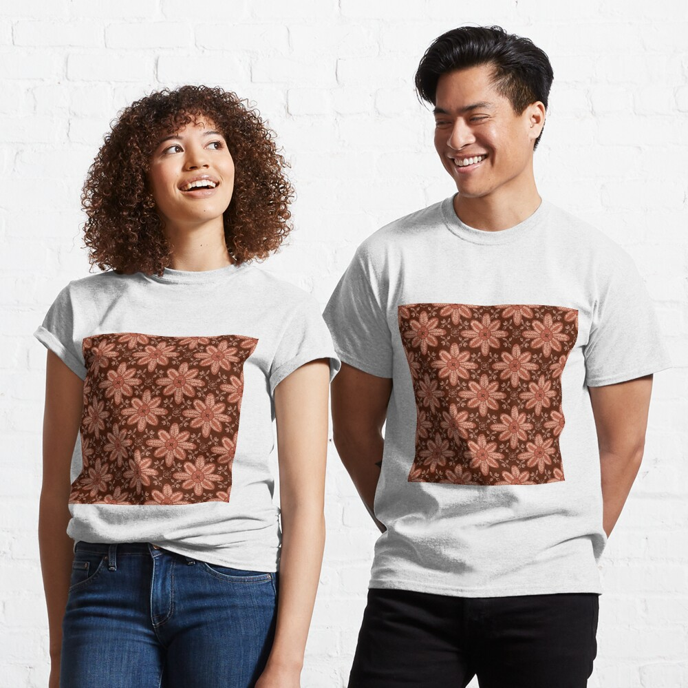 Indian Flower Pattern - Brown Classic T-Shirt