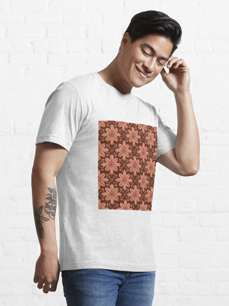 Alternate view of Indian Flower Pattern - Brown Essential T-Shirt