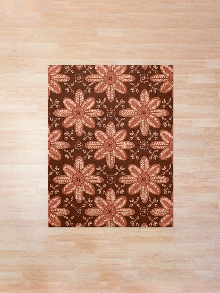 Alternate view of Indian Flower Pattern - Brown Comforter