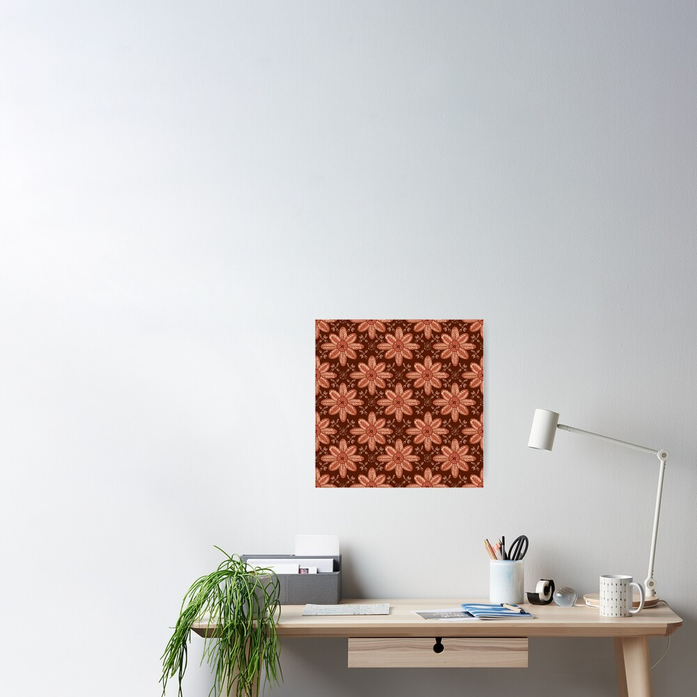 Indian Flower Pattern - Brown Poster