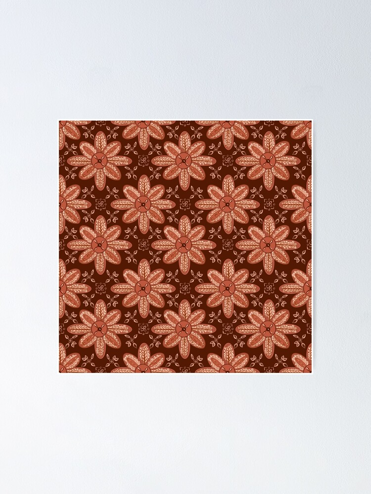 Alternate view of Indian Flower Pattern - Brown Poster