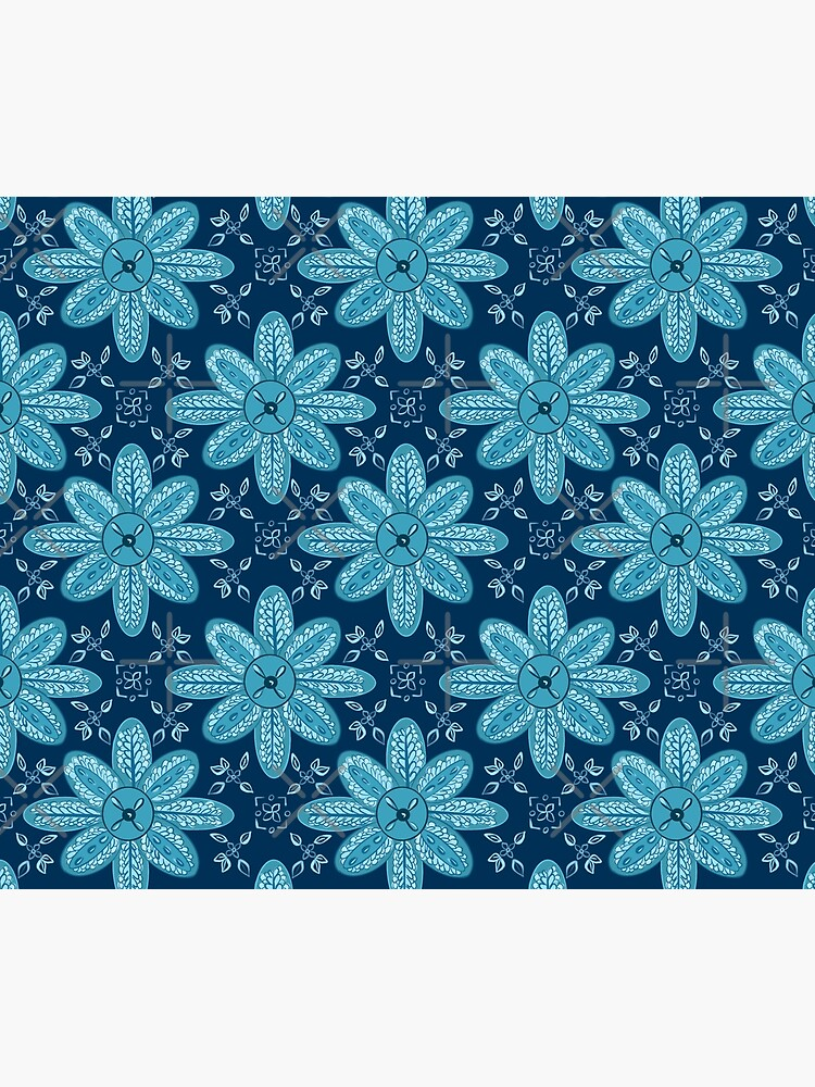 Indian Flower Pattern - Blue by adarovai
