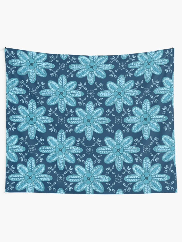 Alternate view of Indian Flower Pattern - Blue Tapestry